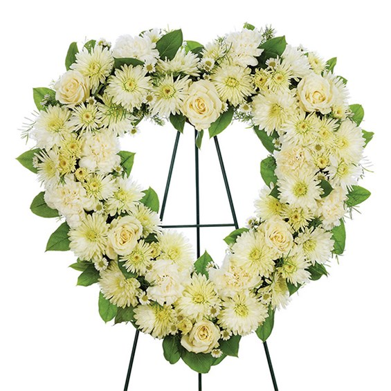 Heart standing spray of all-white flowers (BF325-11KL)